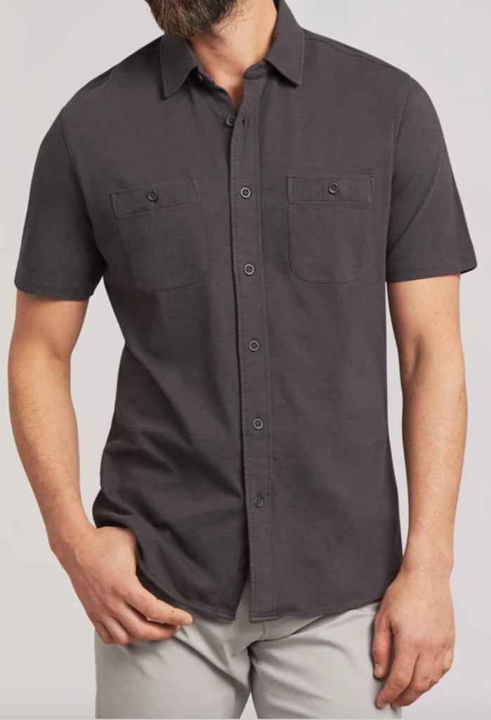 .Faherty Knit Seasons Short Sleeve Shirt, Blk