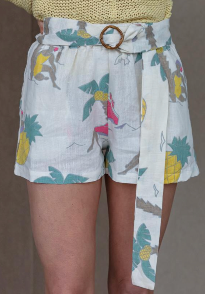 Place Nationale Lebre Linen Belted Shorts, Palm Print