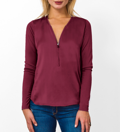 Victoria Silk Zip Henley - RUST & Co.