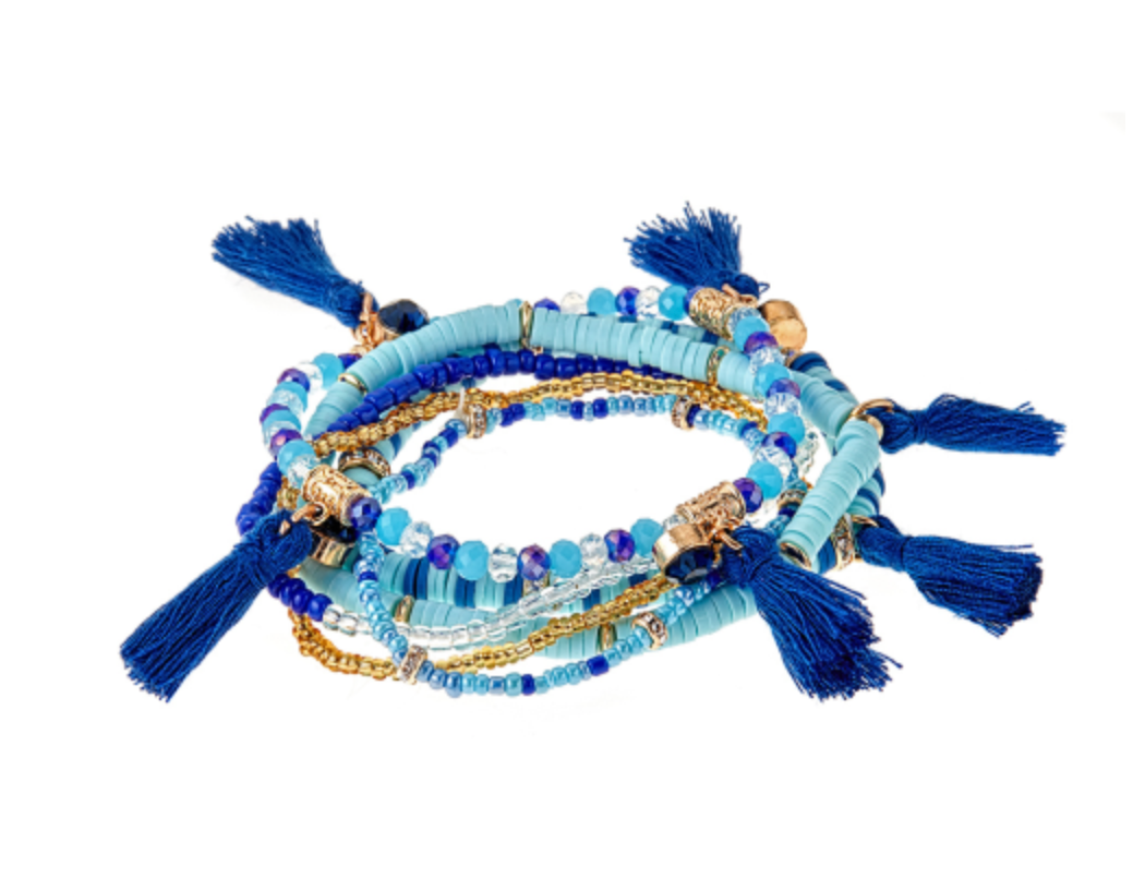 Stacking Beaded Bracelets, Blue
