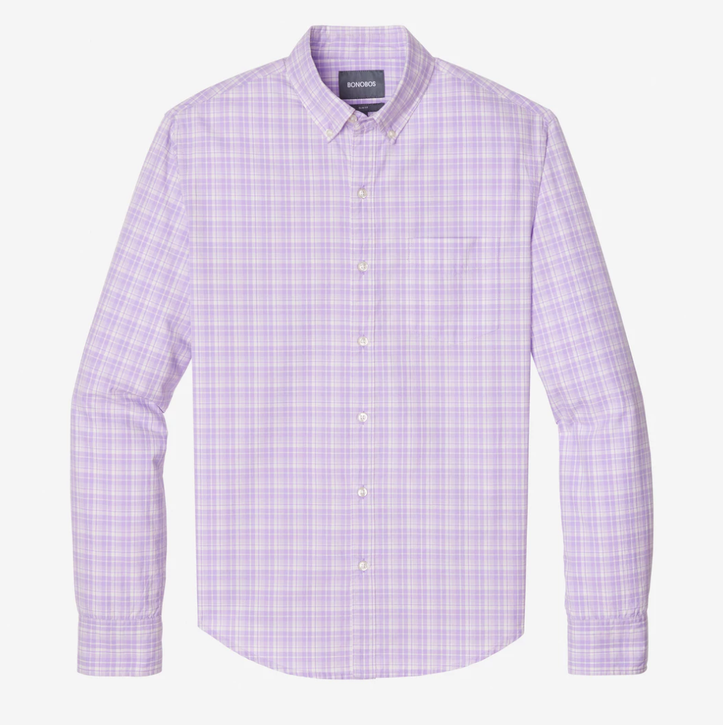 Bonobos Lavender Plaid Washed Button Down