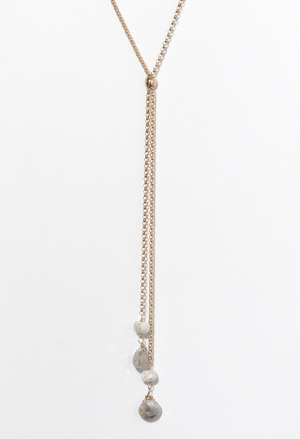 "Reese White Sapphire Long Necklace 28""-30"""