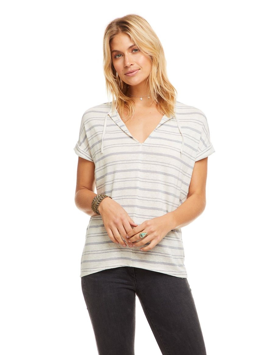 Linen Jersey V-neck Top With Ties, Stripe