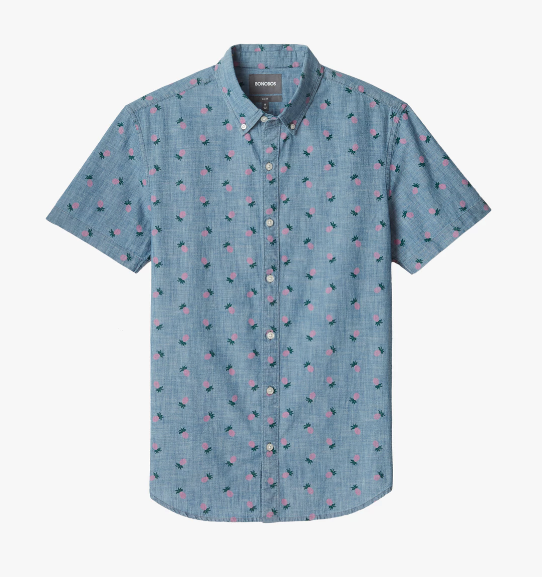 Bonobos Short Sleeve Riviera Shirt, Pink Pineapple