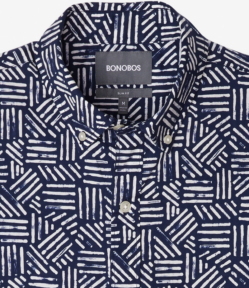 Bonobos Short Sleeve Riviera Shirt, Navy/White