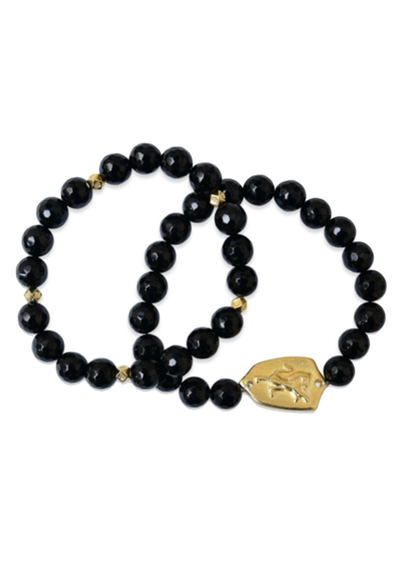 Black Onyx Crest Bracelet Set of 2