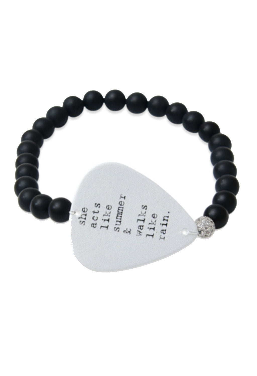 Black Onyx 'She Walks Like Rain' Guitar Pick Bracelet