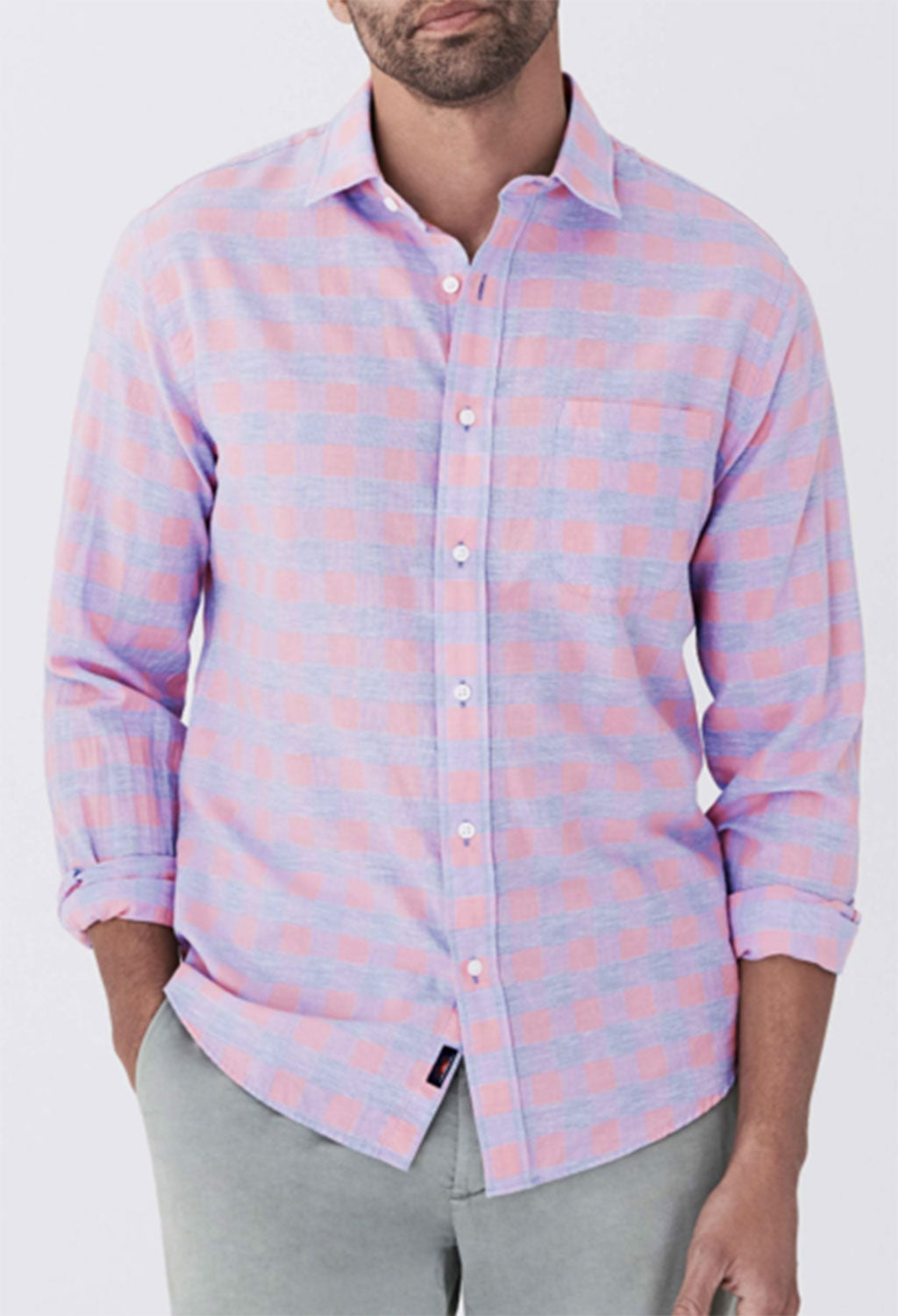 Faherty Stretch Summer Blend Rose Buffalo Check