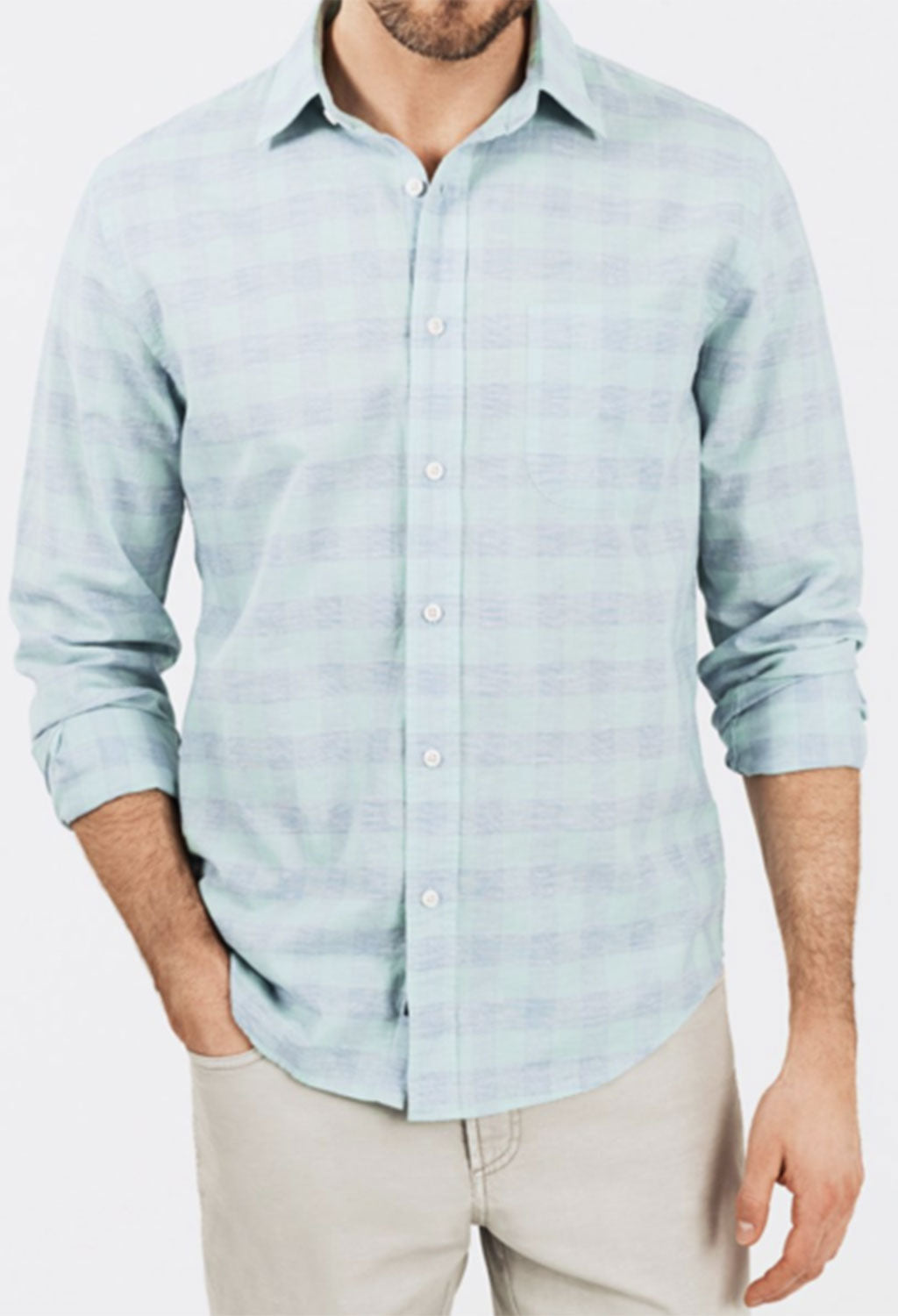 Faherty Stretch Summer Blend Mint Buffalo Check