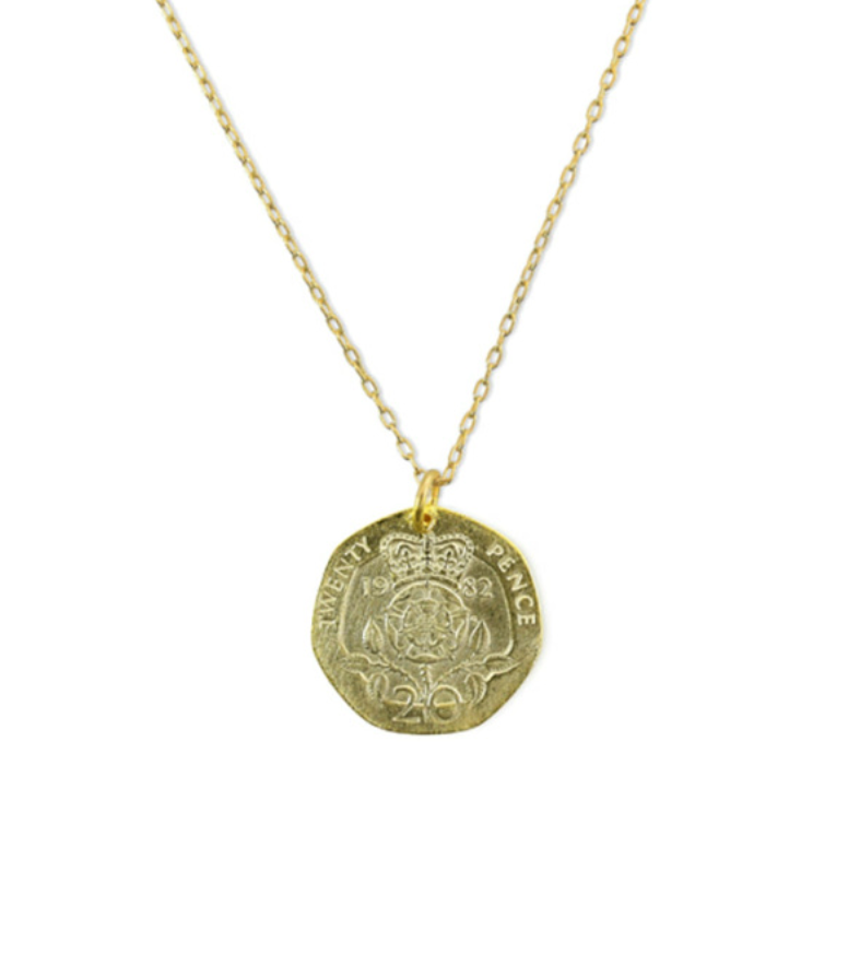 British Coin Necklace 22""