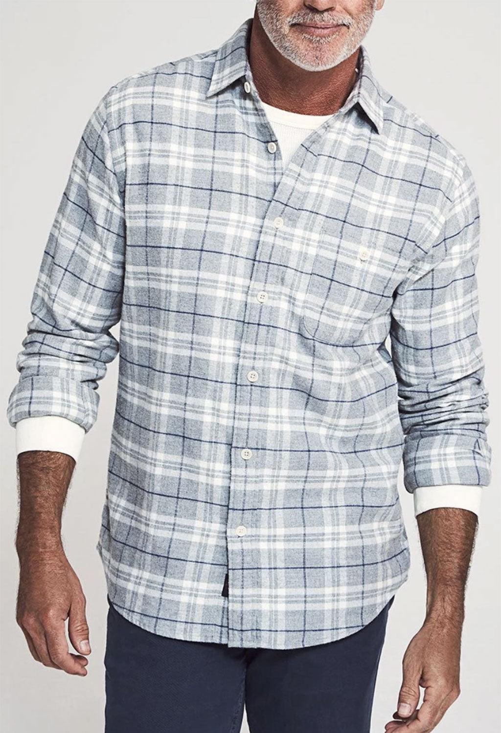 Faherty Stretch Seaview Flannel, Glacier Lake Plaid