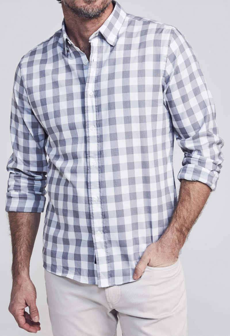 Faherty Movement Shirt, Great White Check - RUST & Co.