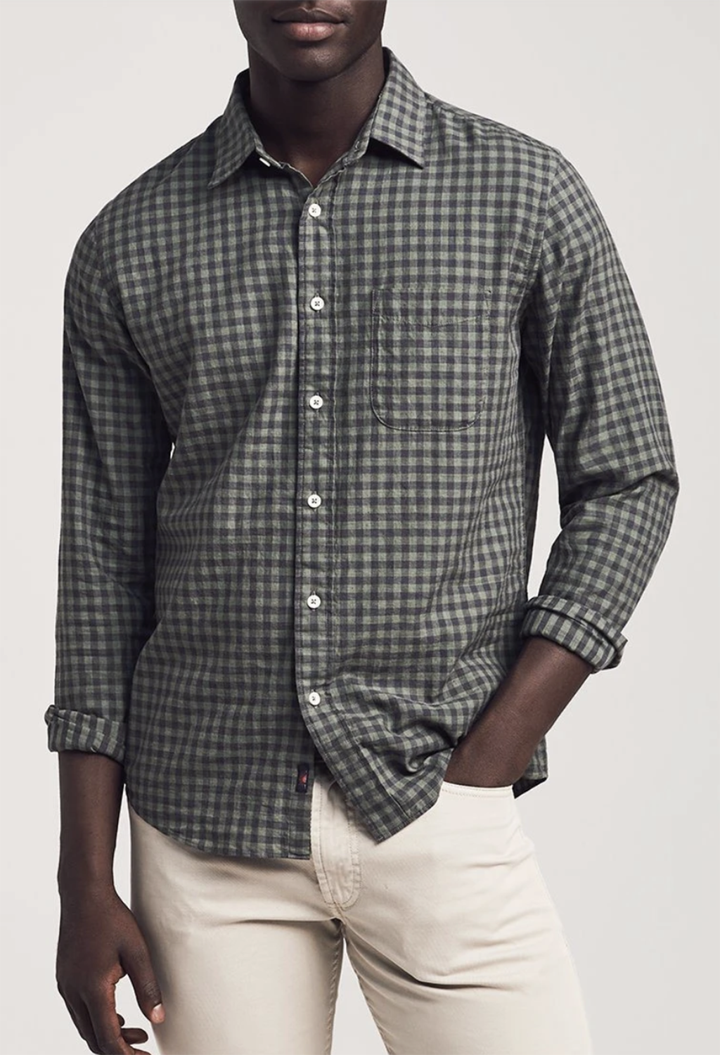 Faherty Everyday Shirt, Olive Black Gingham