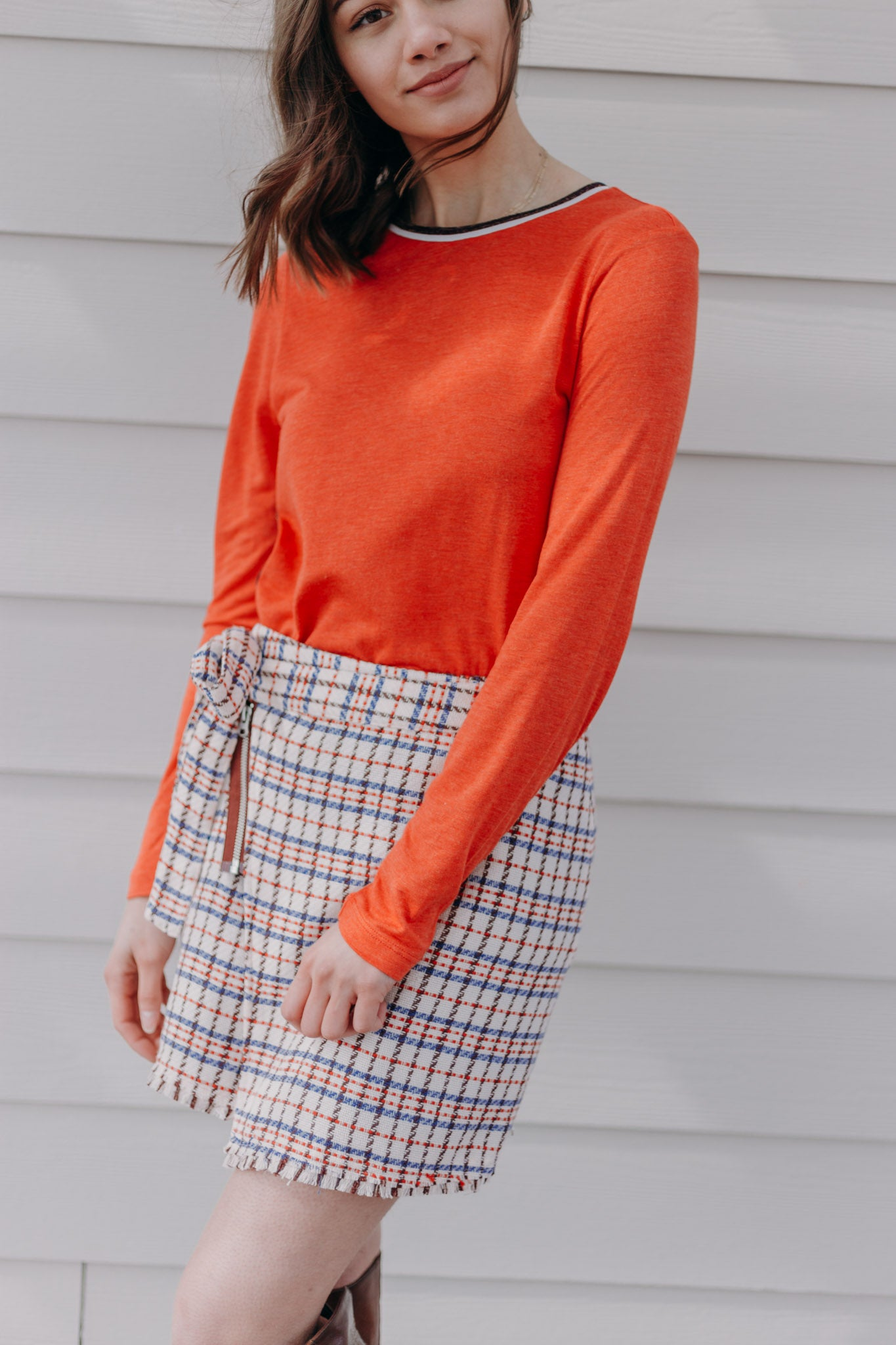 Scotch & Soda Checked Tweed Skirt