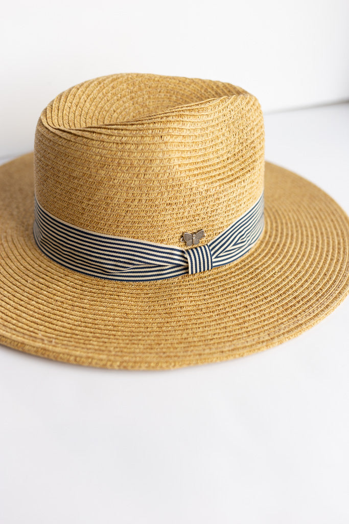 Havana Woven Fedora Hat w/ Striped Band