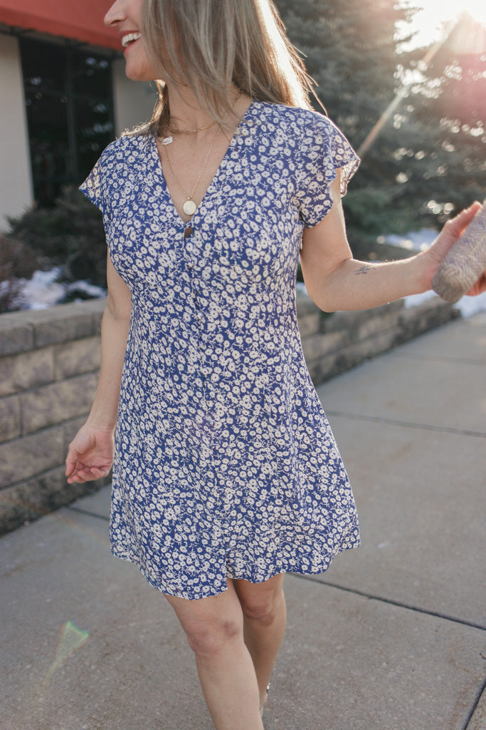 Rails Navy Camellia Dress