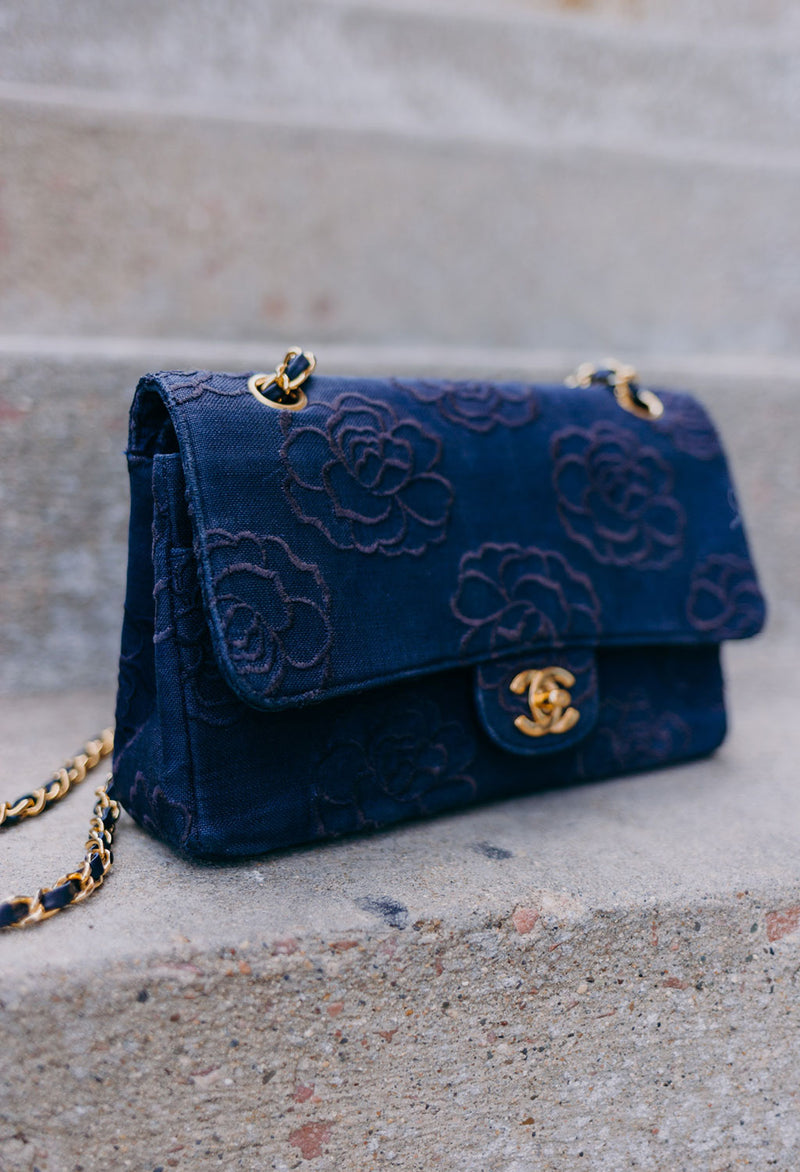 Chanel Vintage Denim Rare Camellia 2.55 Flap Bag