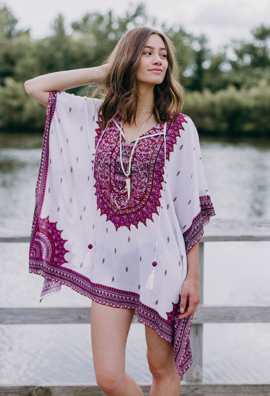 Kara Caftan Kimono Swim Cover-Up Top