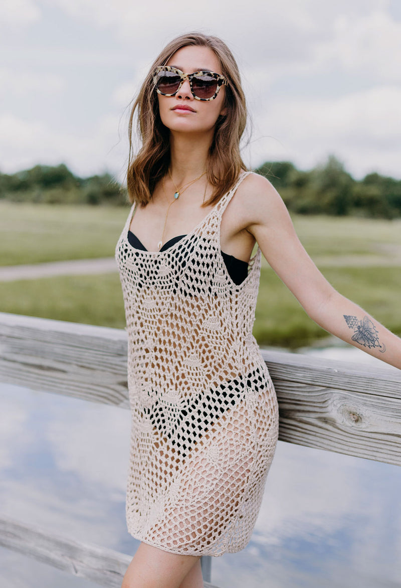 Sloan Hand Crochet Knit Mini Dress / Cover-up