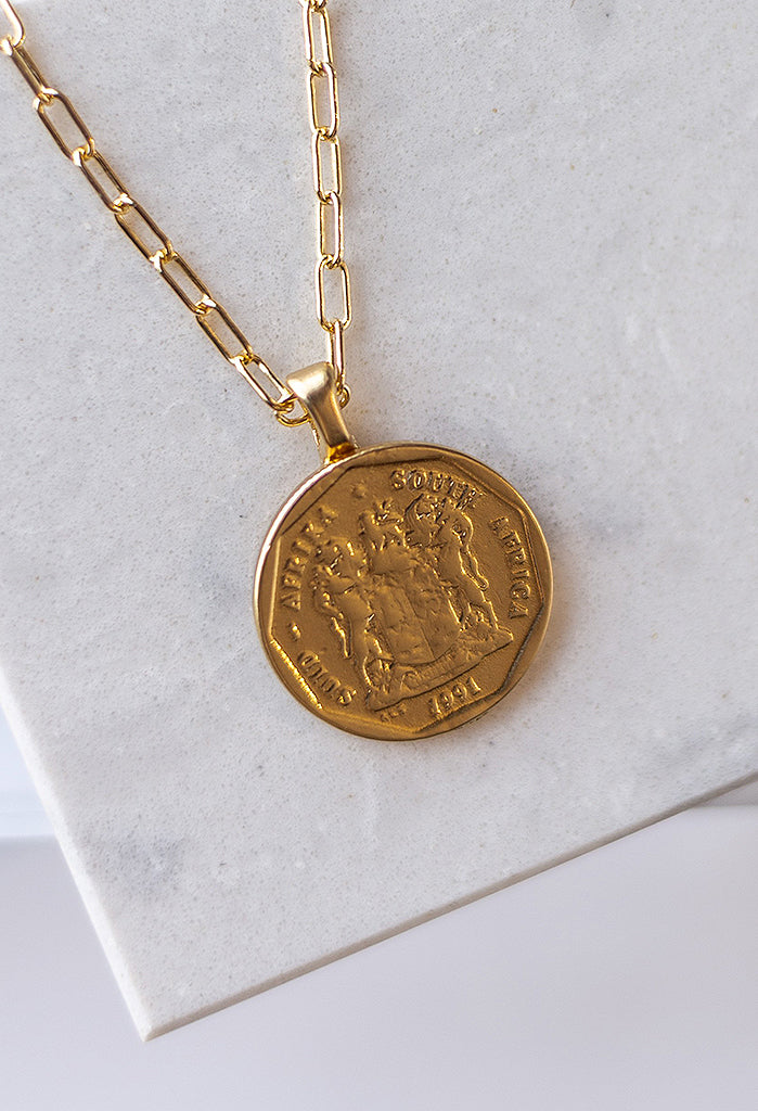 Royal Crest Coin Necklace, 22""