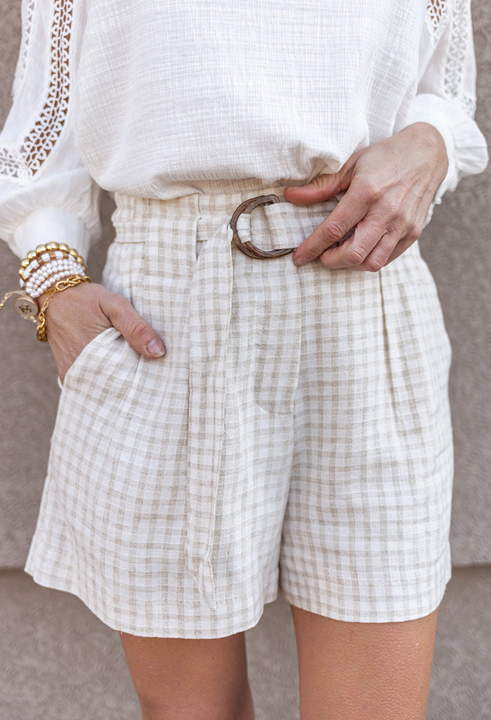 Audrey Gingham Belted Shorts