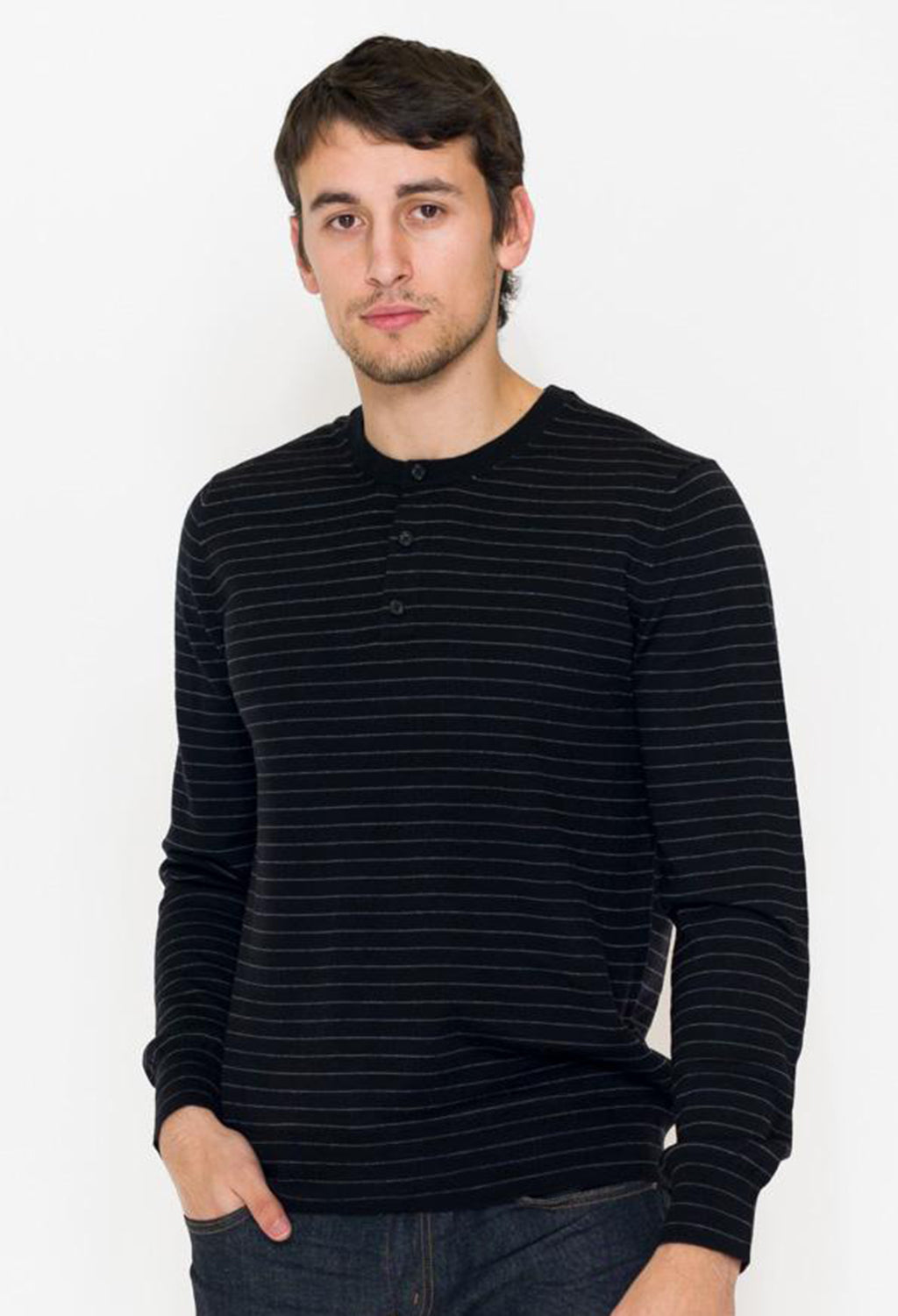 Vince Black Stripe Henley