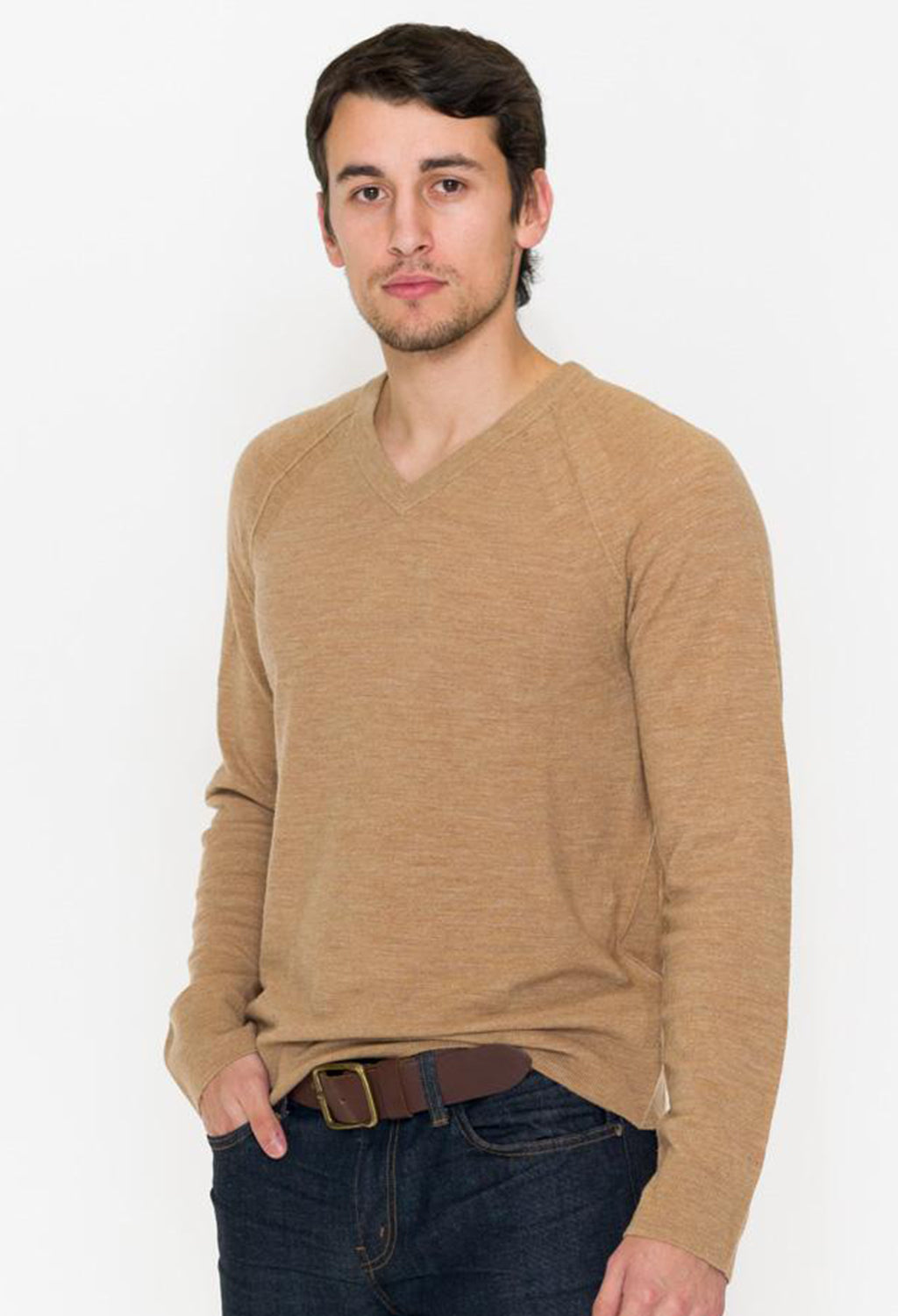 Vince Seamed V-Neck Wool & Linen Sweater