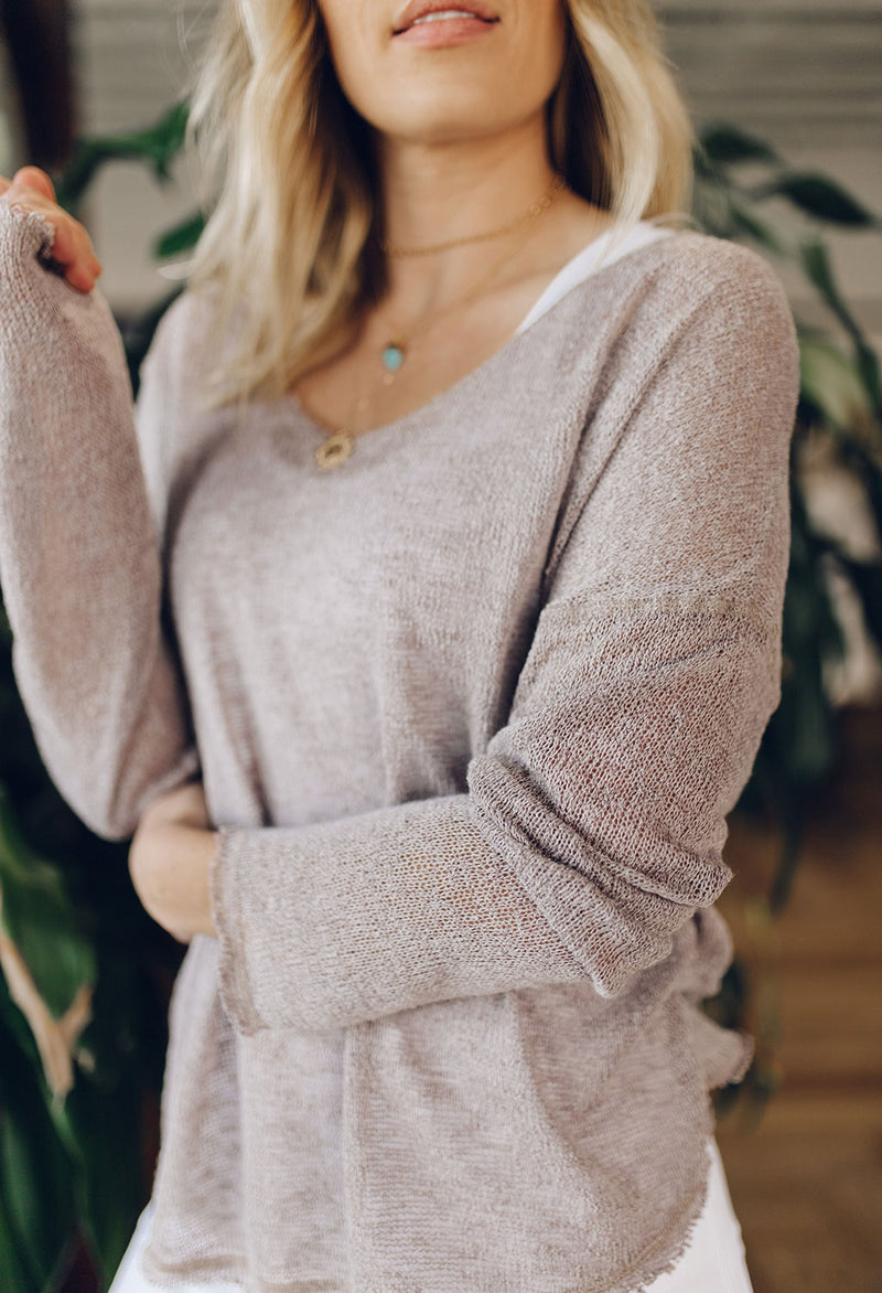 Ally Raw Edge Light Weight Sweater
