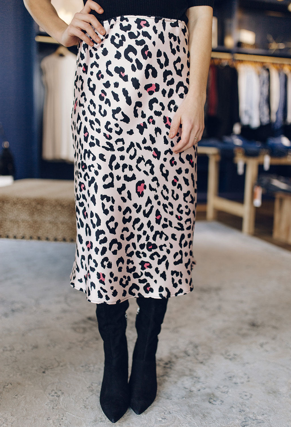 Tru Leopard Midi Skirt - RUST & Co.