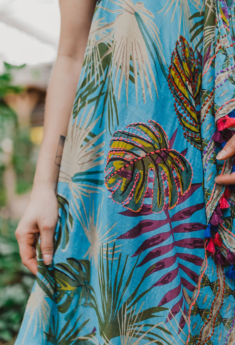 Embroidered Jungle Maxi Dress / Cover-up