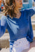 Shirt Tail V-neck Sweater, Blue