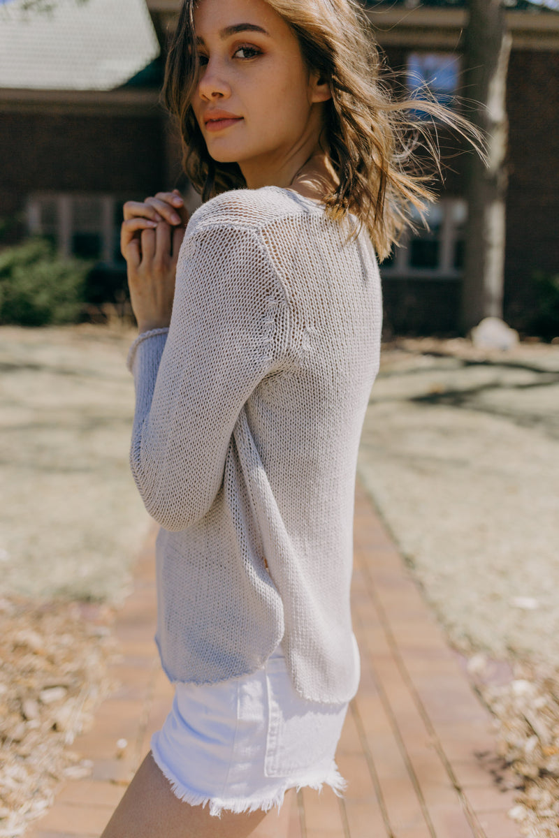 Shirt Tail V-neck Sweater, Champagne
