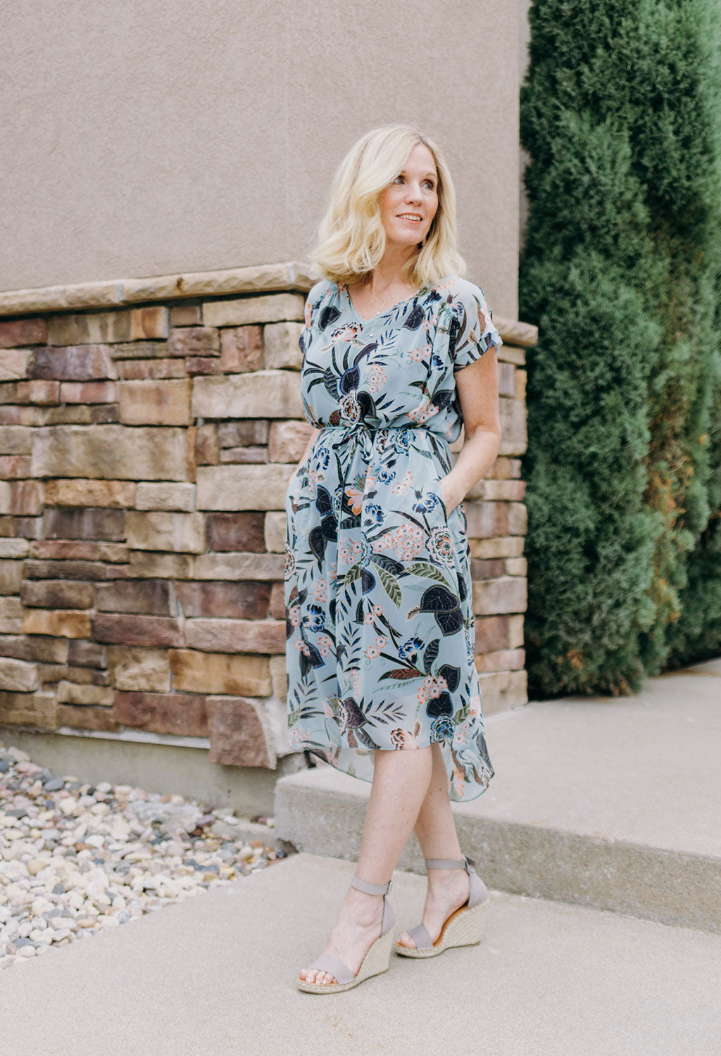 Floral Print Dress With Hi/Lo Hem