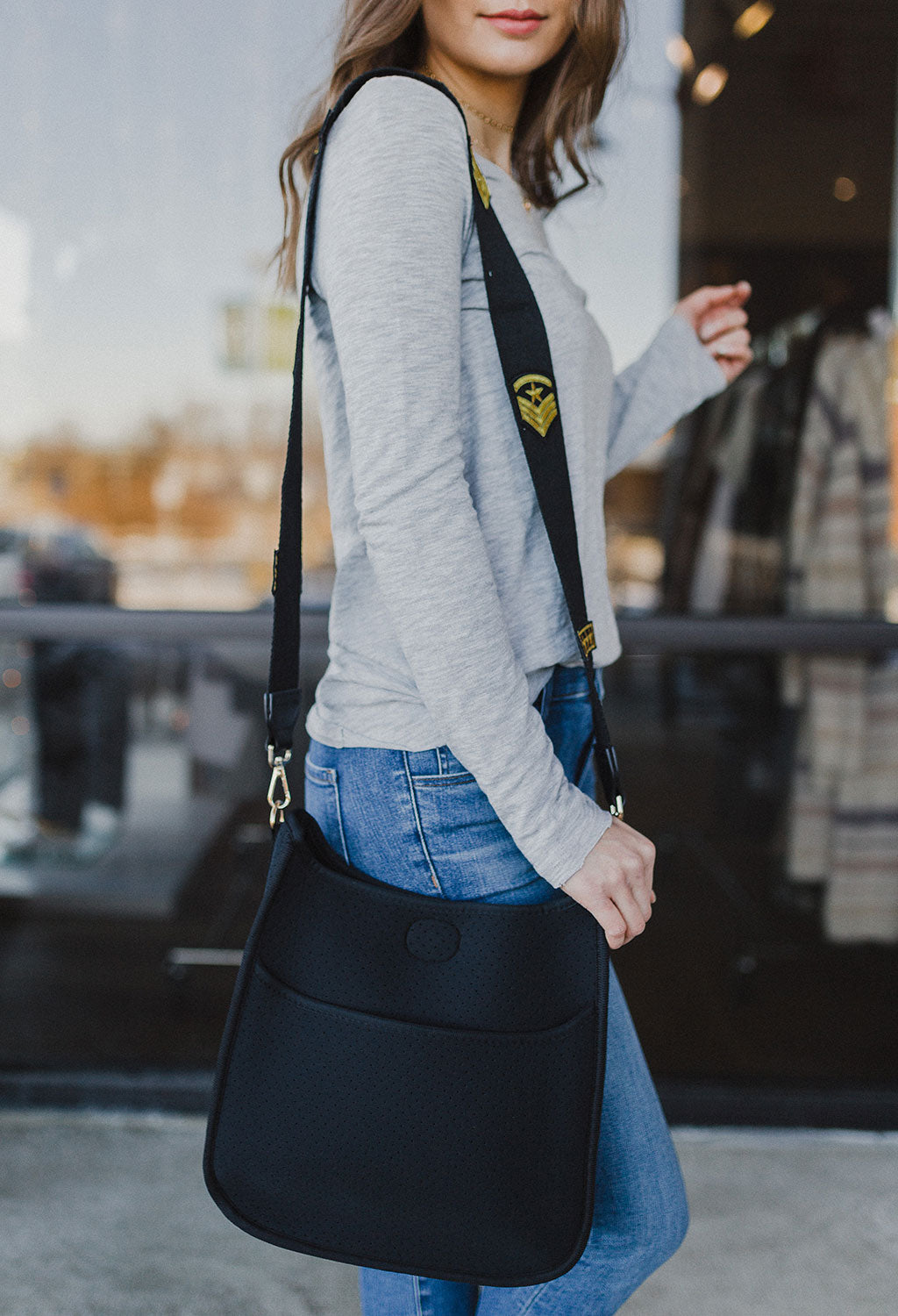 Black Neoprene Messenger Tote