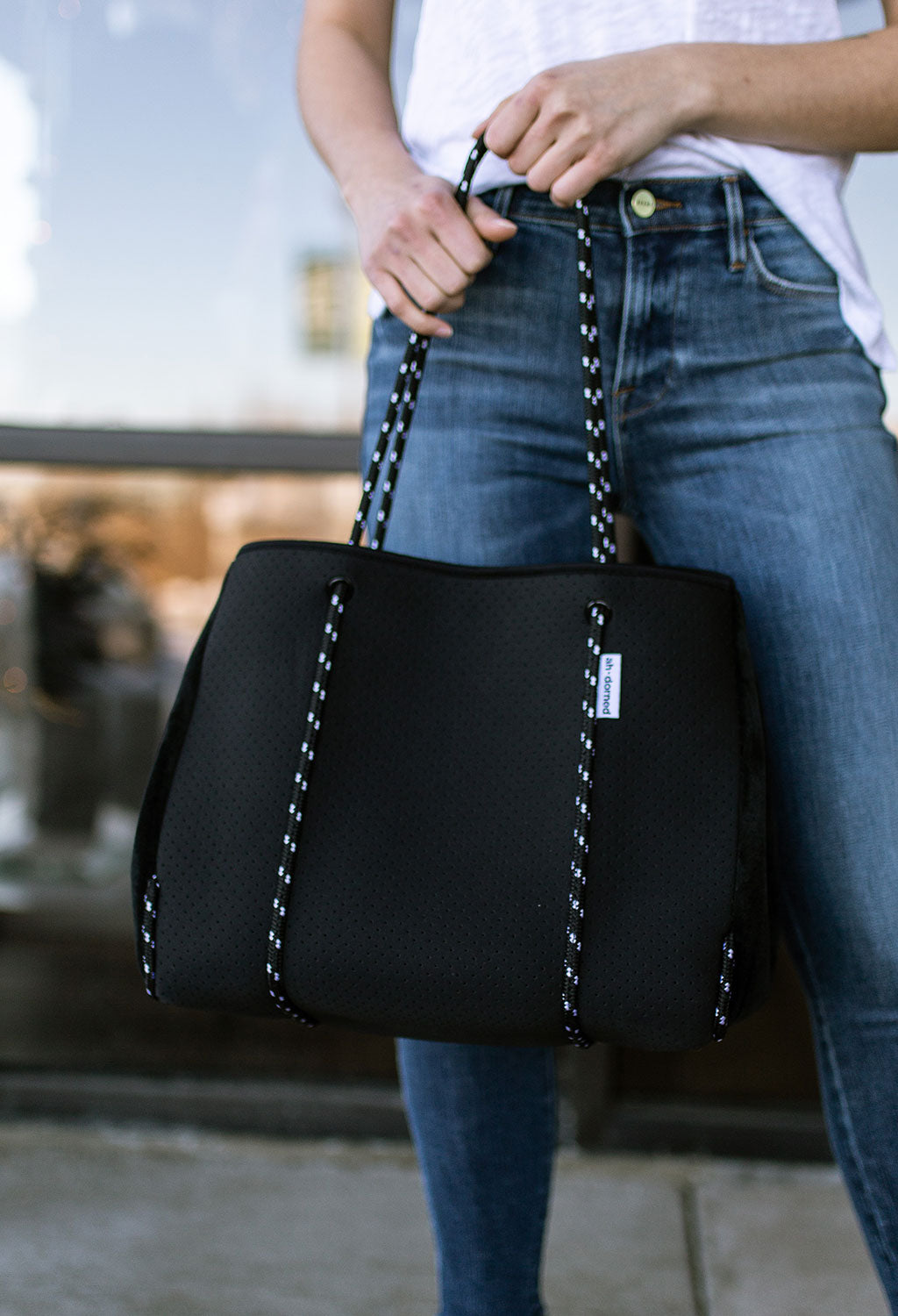 Black Perforated Neoprene Tote