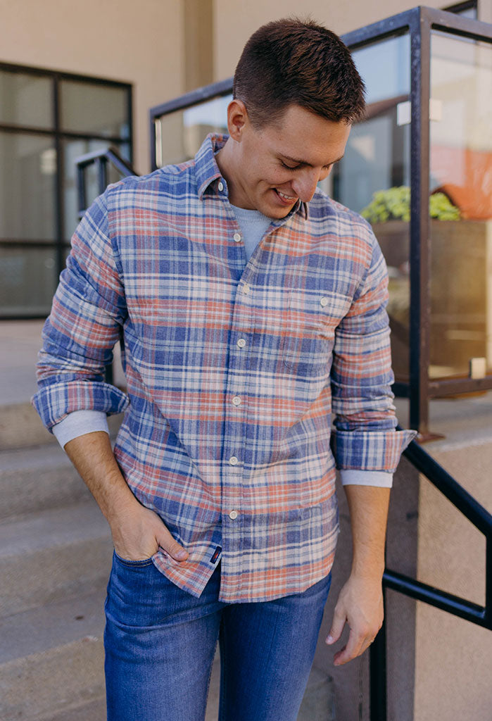 Faherty Stretch Seaview Flannel, Autumn Plaid