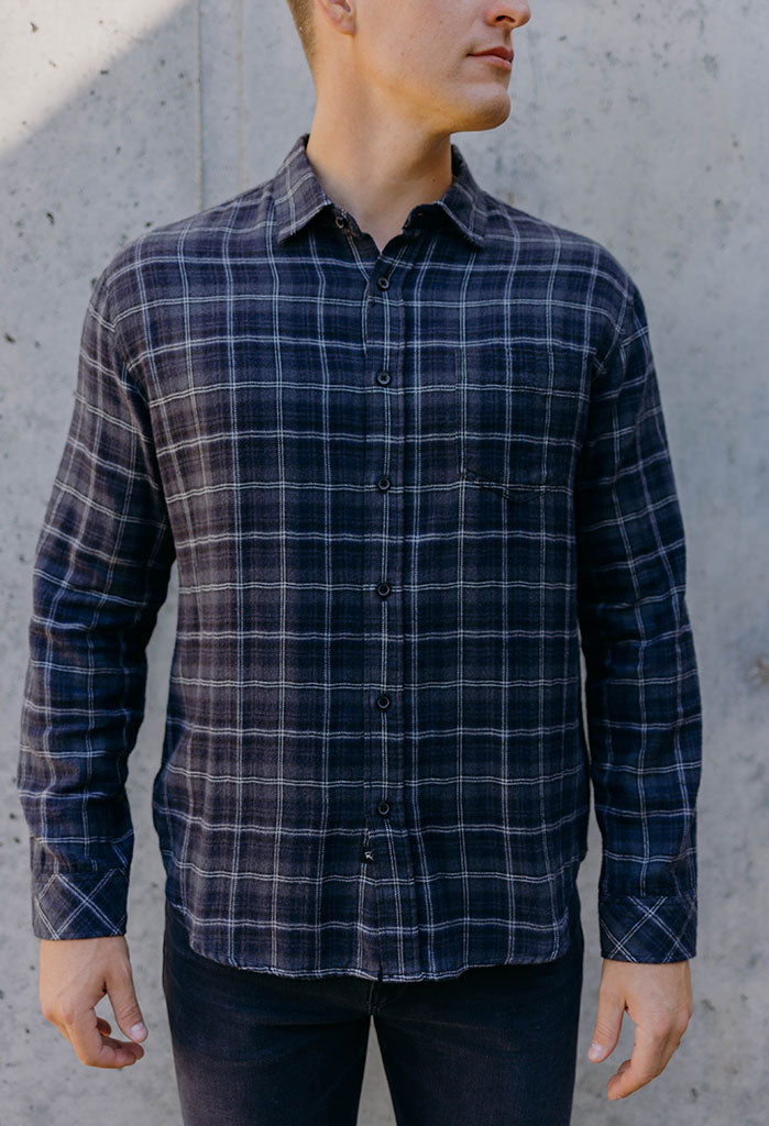 Rails Lennox Plaid Shirt, Black/Blue/Smoke