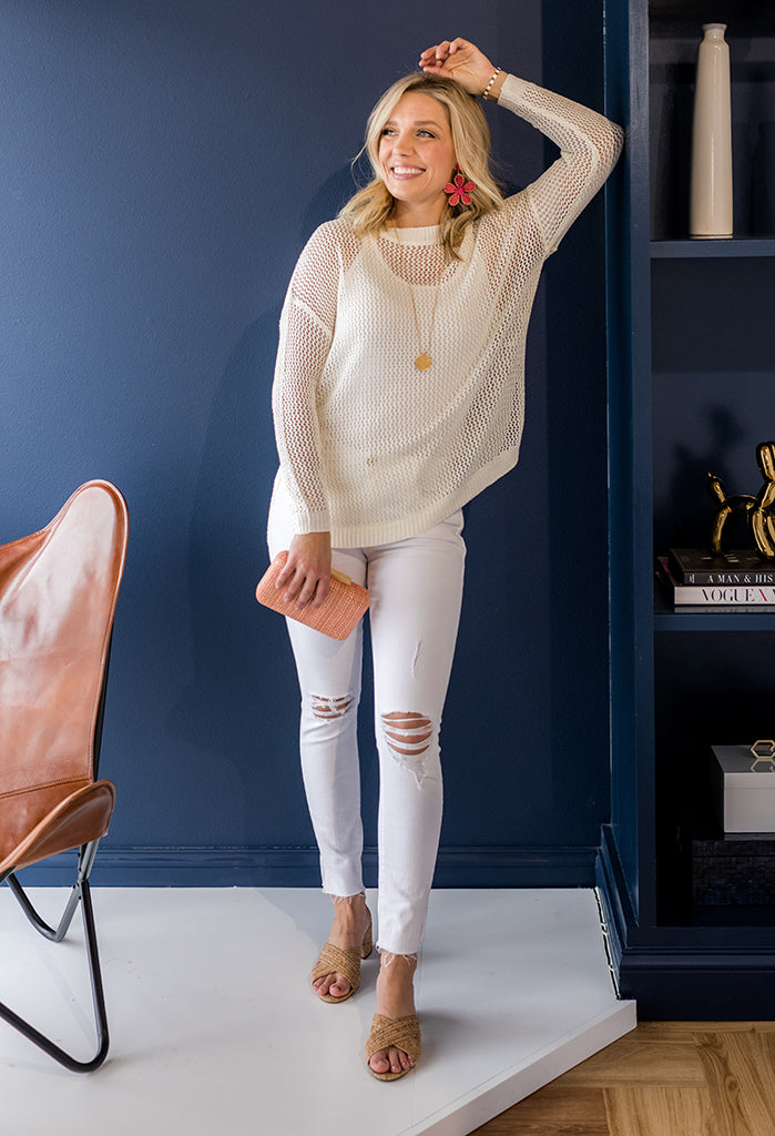 Rebecca Open Knit Sweater, Off White