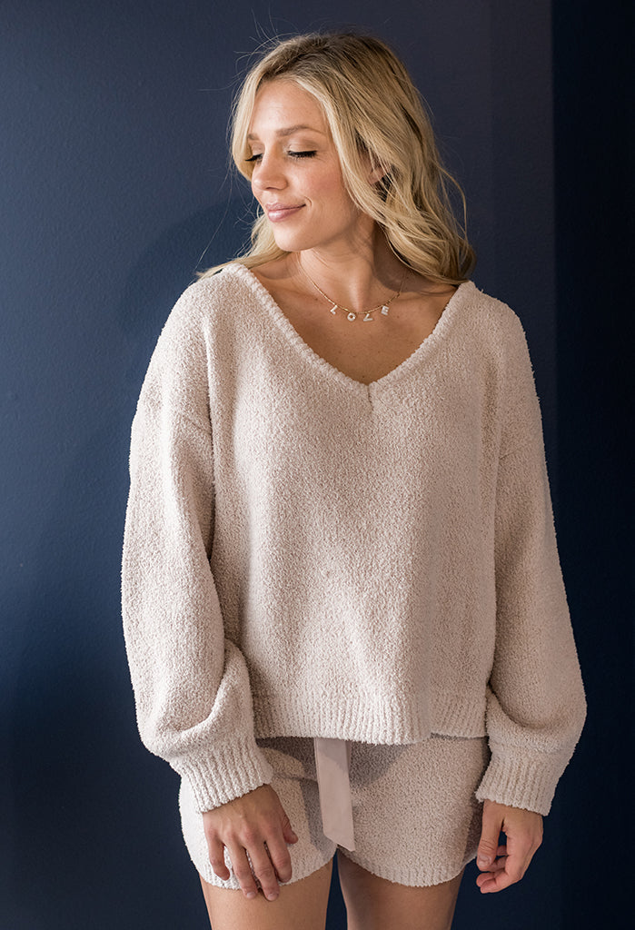 Plush Cozy V-neck Top