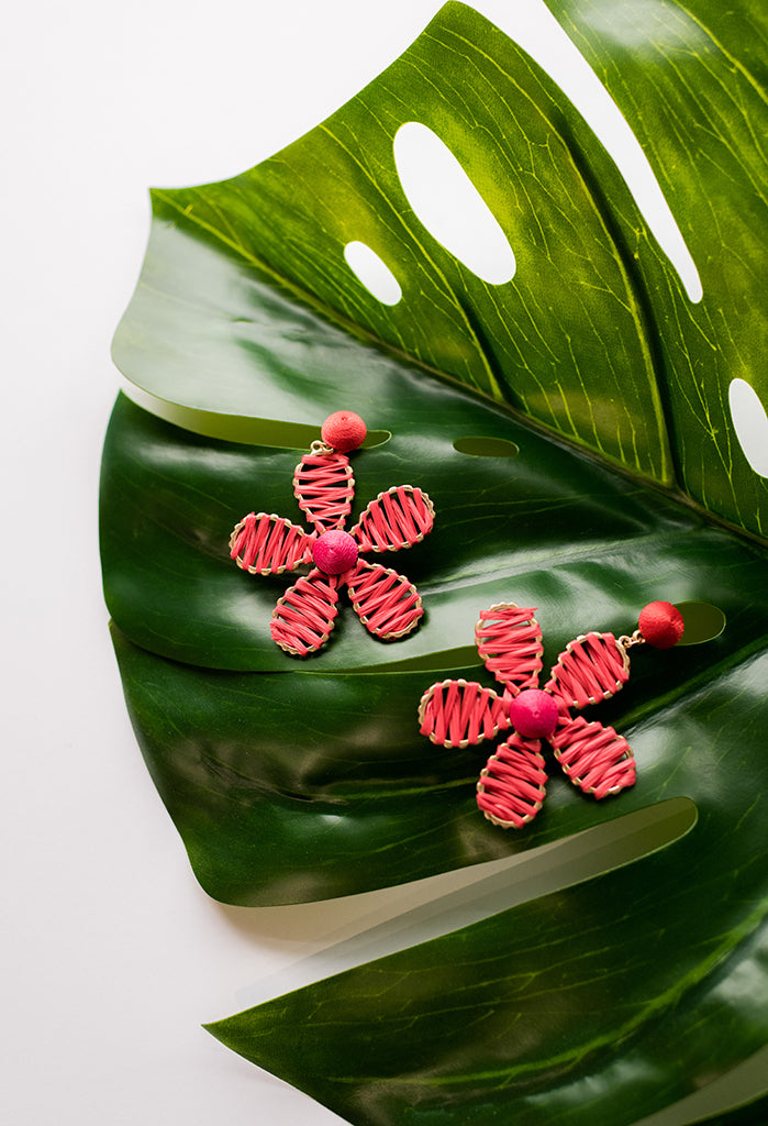 Raffia Daisy Earrings
