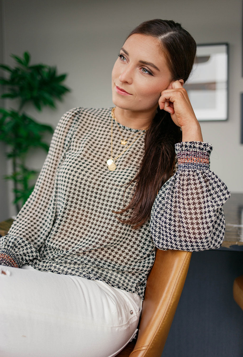 Scotch & Soda Genevieve Houndstooth Top