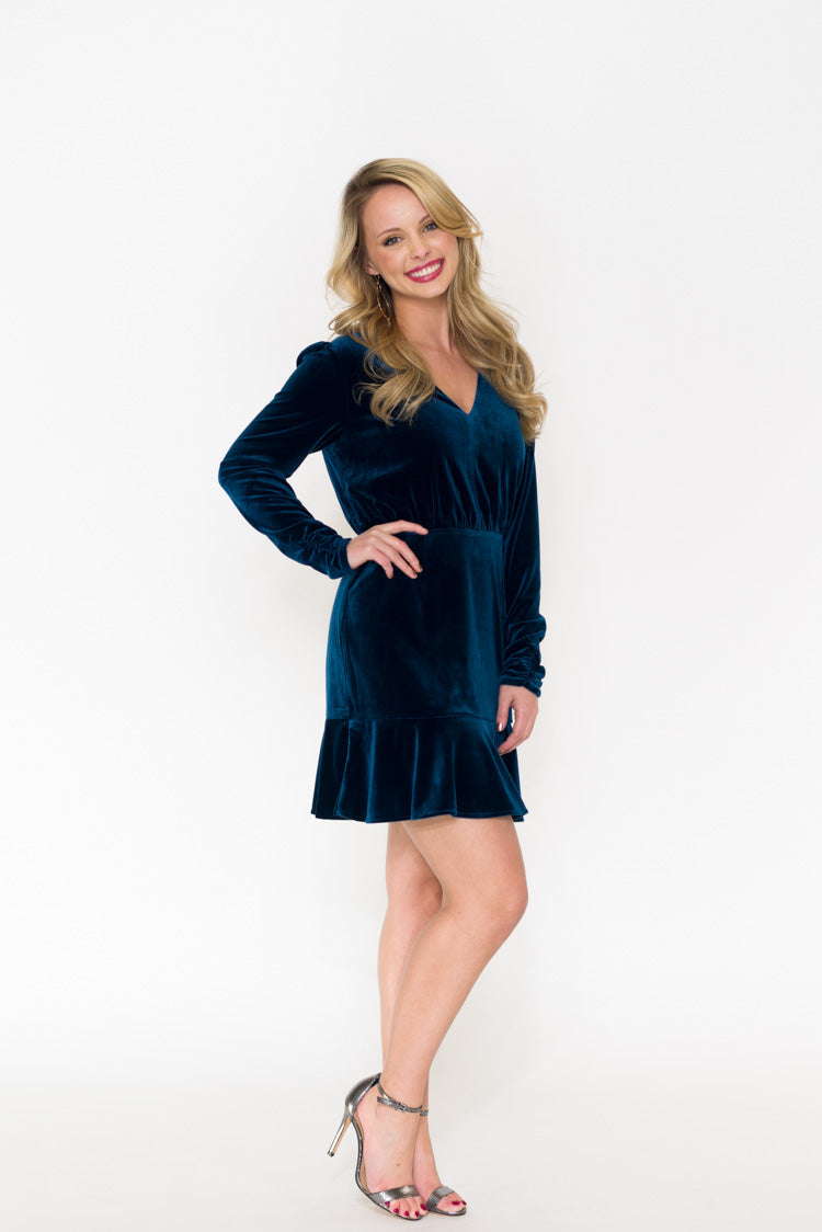 Luna Long Sleeve Velvet Dress
