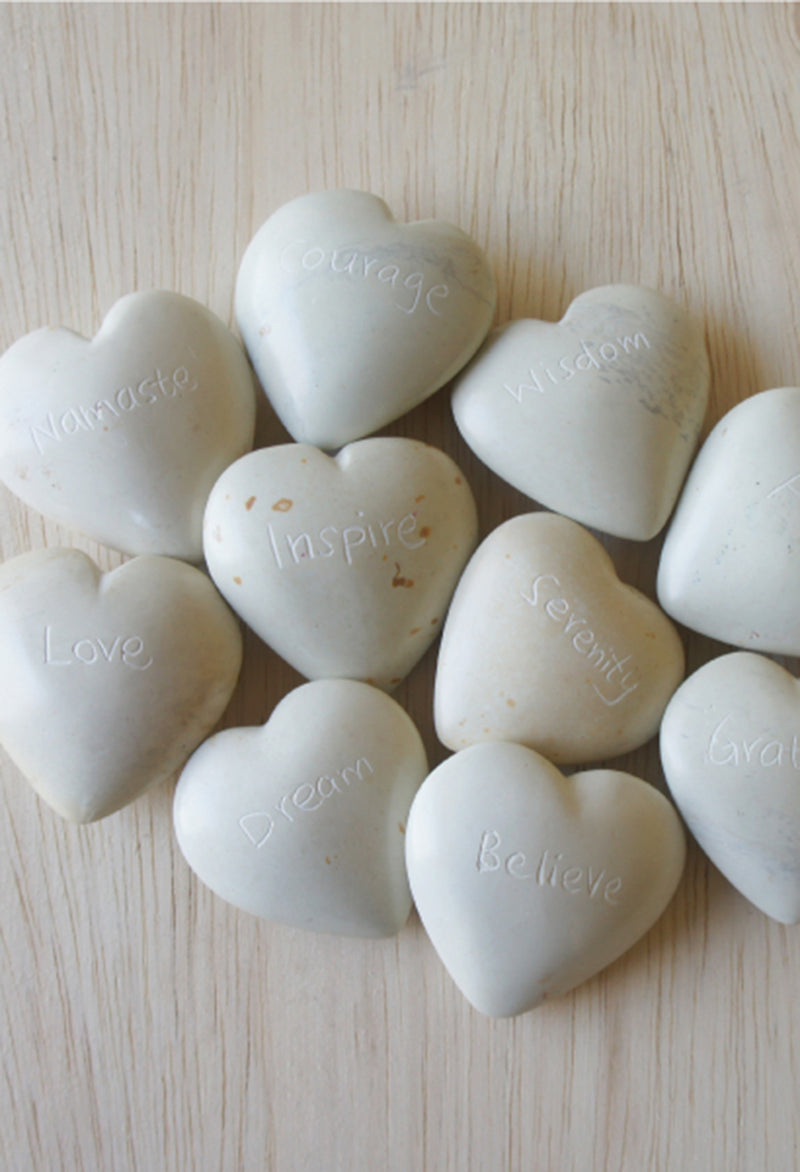 Natural Stone Inspiring Word Hearts - RUST & Co.