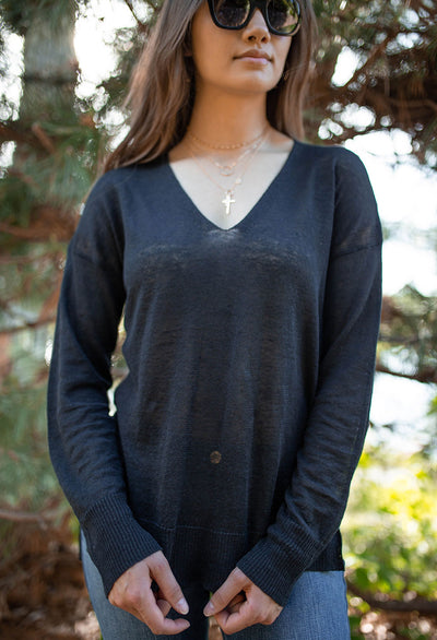 Sloan Light Weight Linen V-neck Sweater