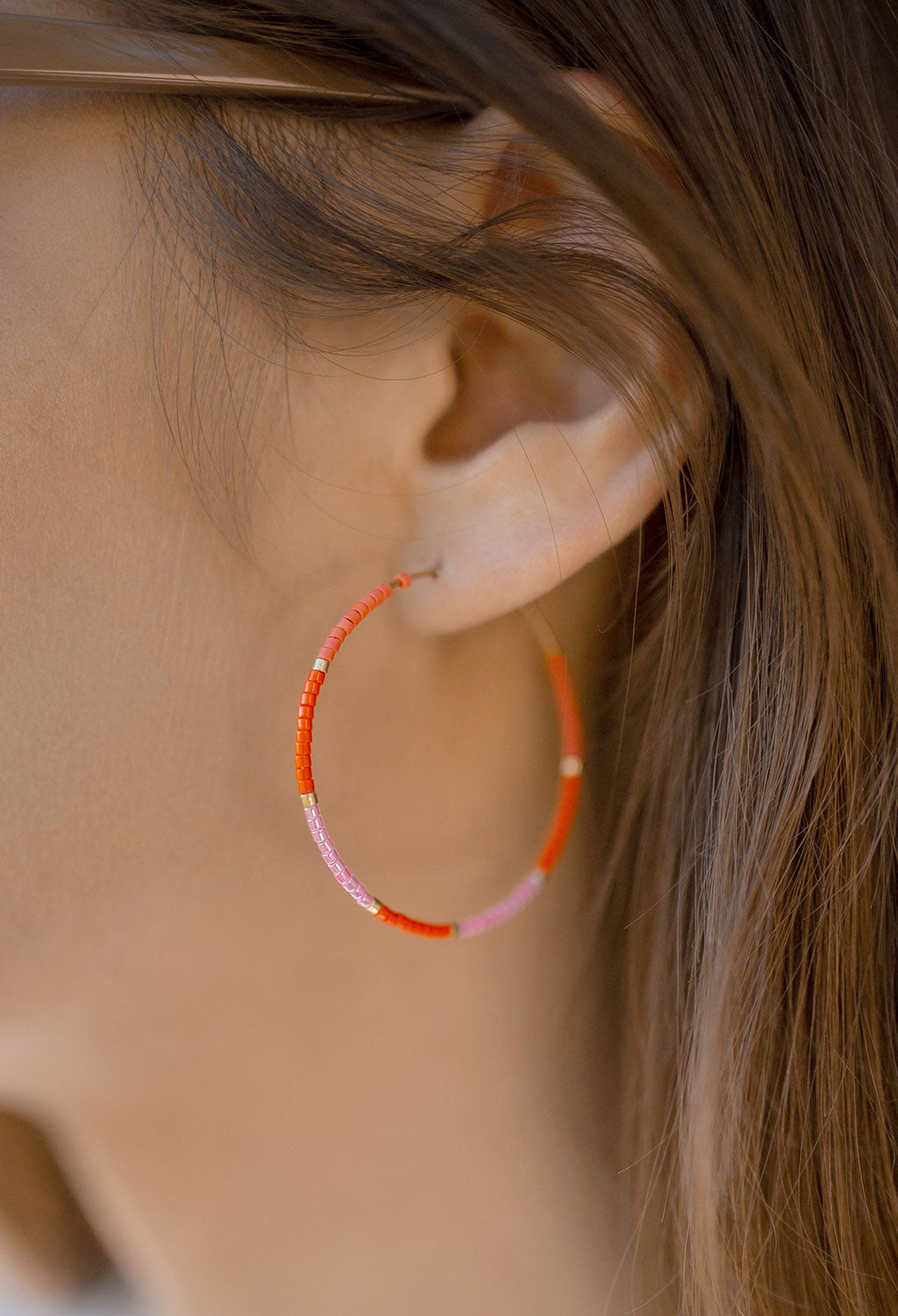 CL Glass Bead Hoop Earrings, Orange/Pink