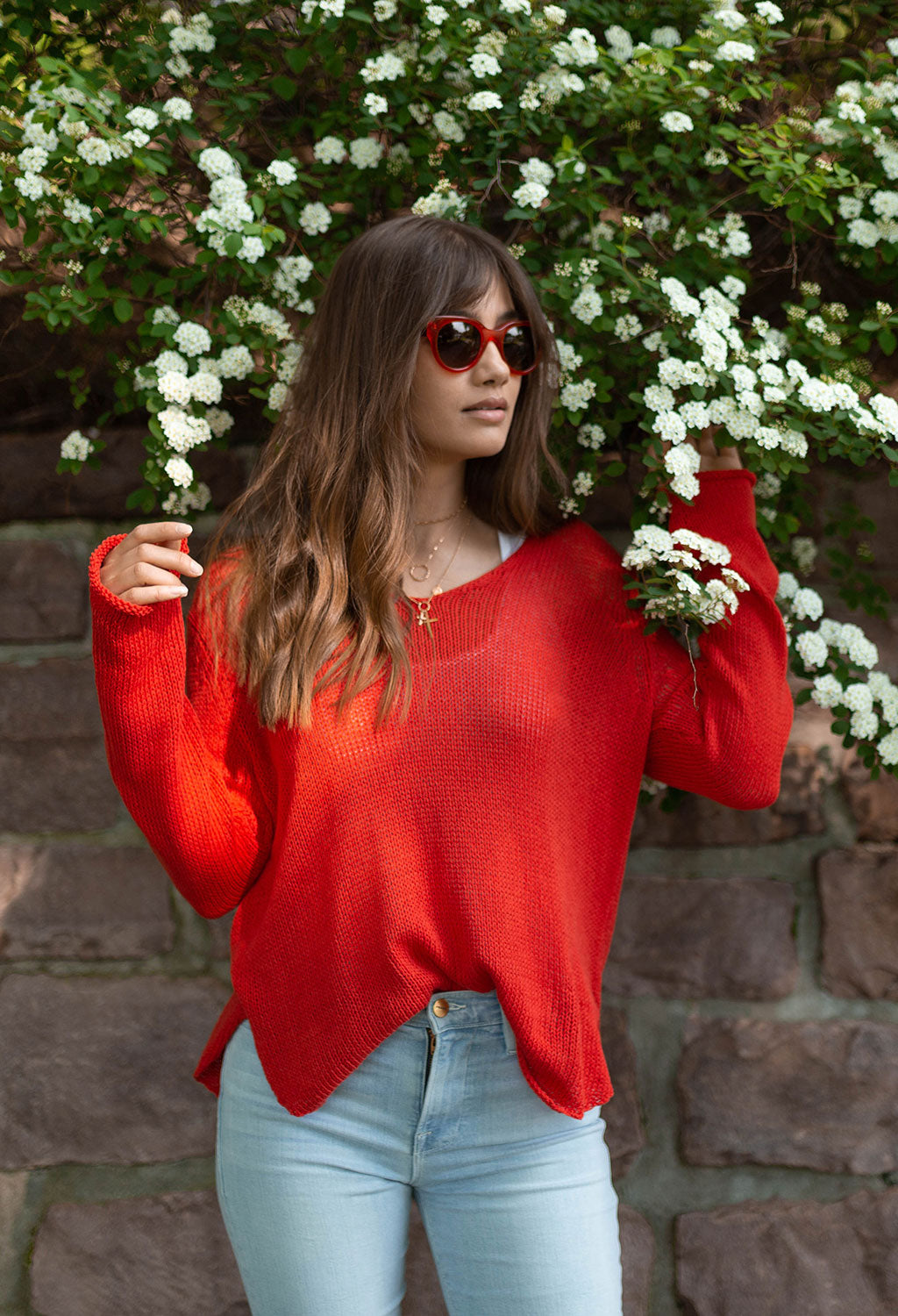 Shirt Tail V-neck Sweater, Scarlet