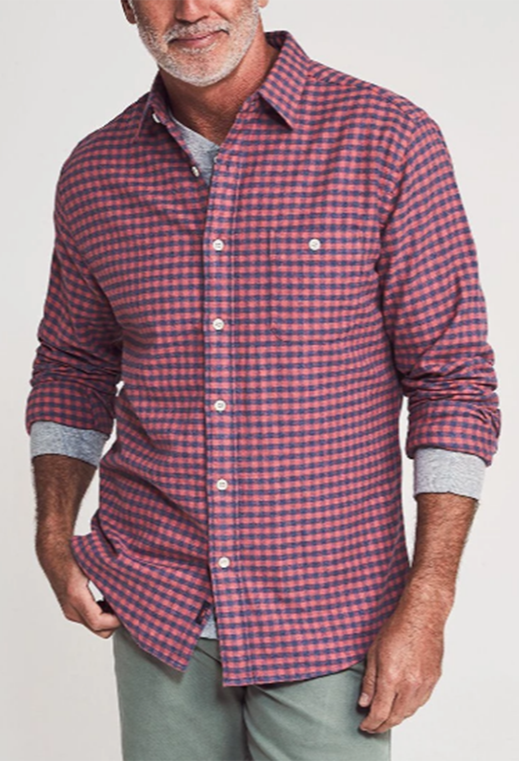 Faherty Stretch Seaview Flannel, Blue/Rose Gingham