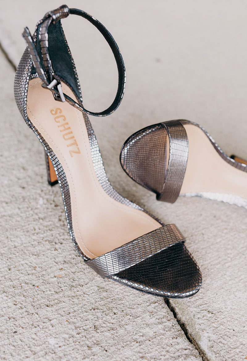 Candice Metallic Leather Embossed Sandal - RUST & Co.