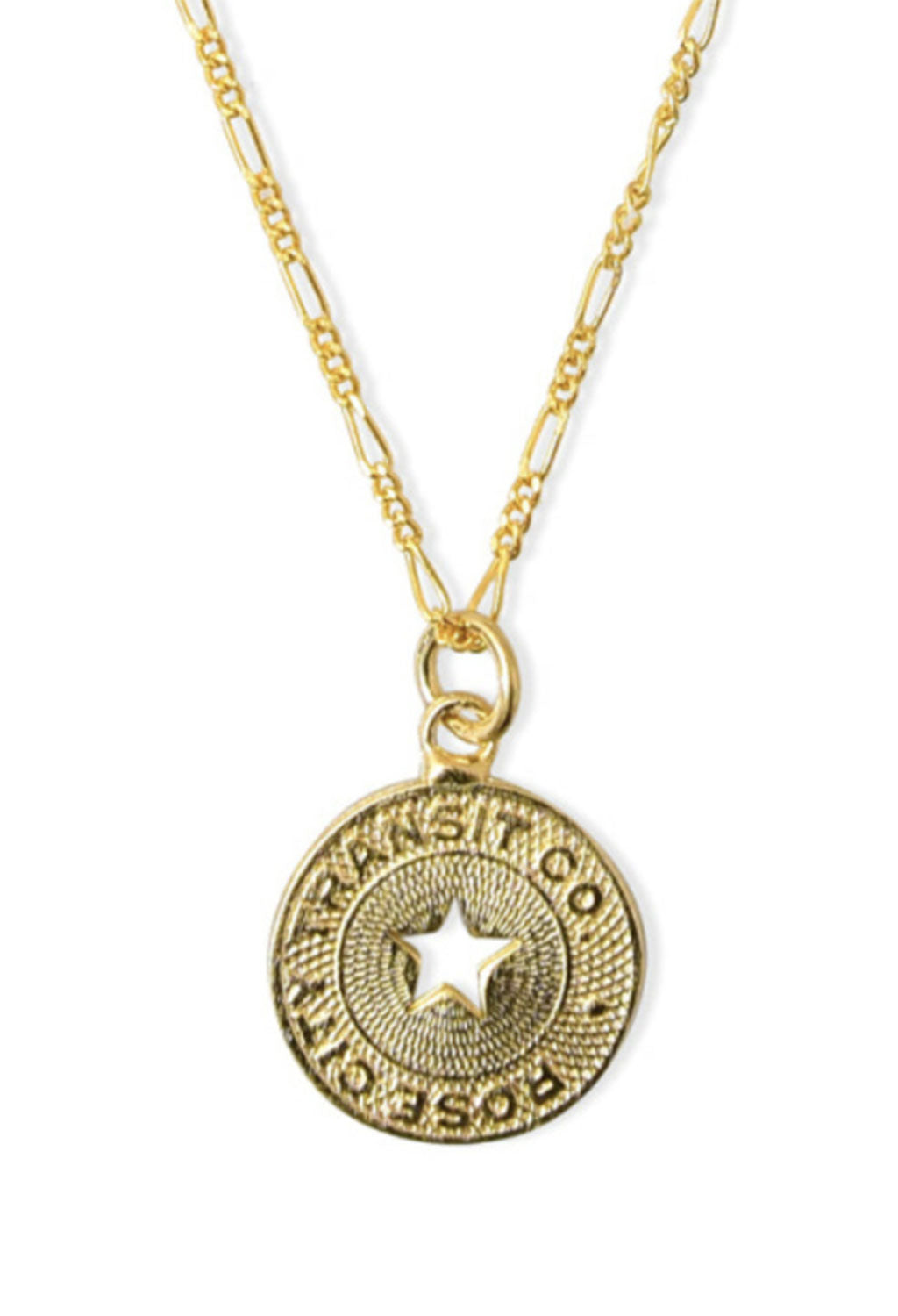 Star Cut-Out Coin Necklace 15""