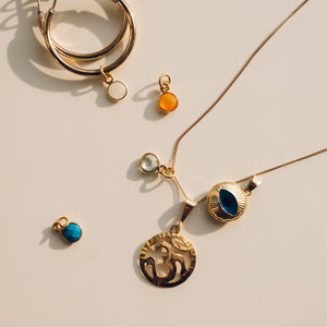 Gold Plated Turquoise Charm - Preséa